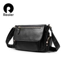 REALER brand women handbags genuine leather shoulder bag fem
