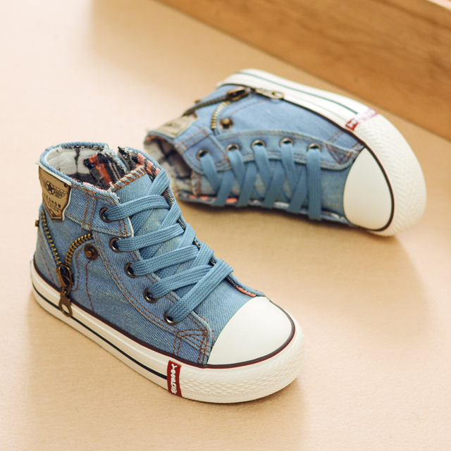 2019 Autumn Expert Skill Children Casual Shoes Boys Girls Sport Shoes Breathable Denim Sneakers Kids Canvas Shoes Baby Boots