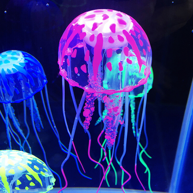 Us 094 20 Offnew 2019 Aquarium Ornaments Fish Tank Decoration Landscaping Ornament Fluorescent Simulation Jellyfish Ornament Pet Decor In