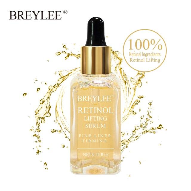 BREYLEE Retinol elevación reafirmante Esencia de colágeno suero eliminar arrugas Anti envejecimiento cuidado de la piel Fade líneas finas 100% Natural