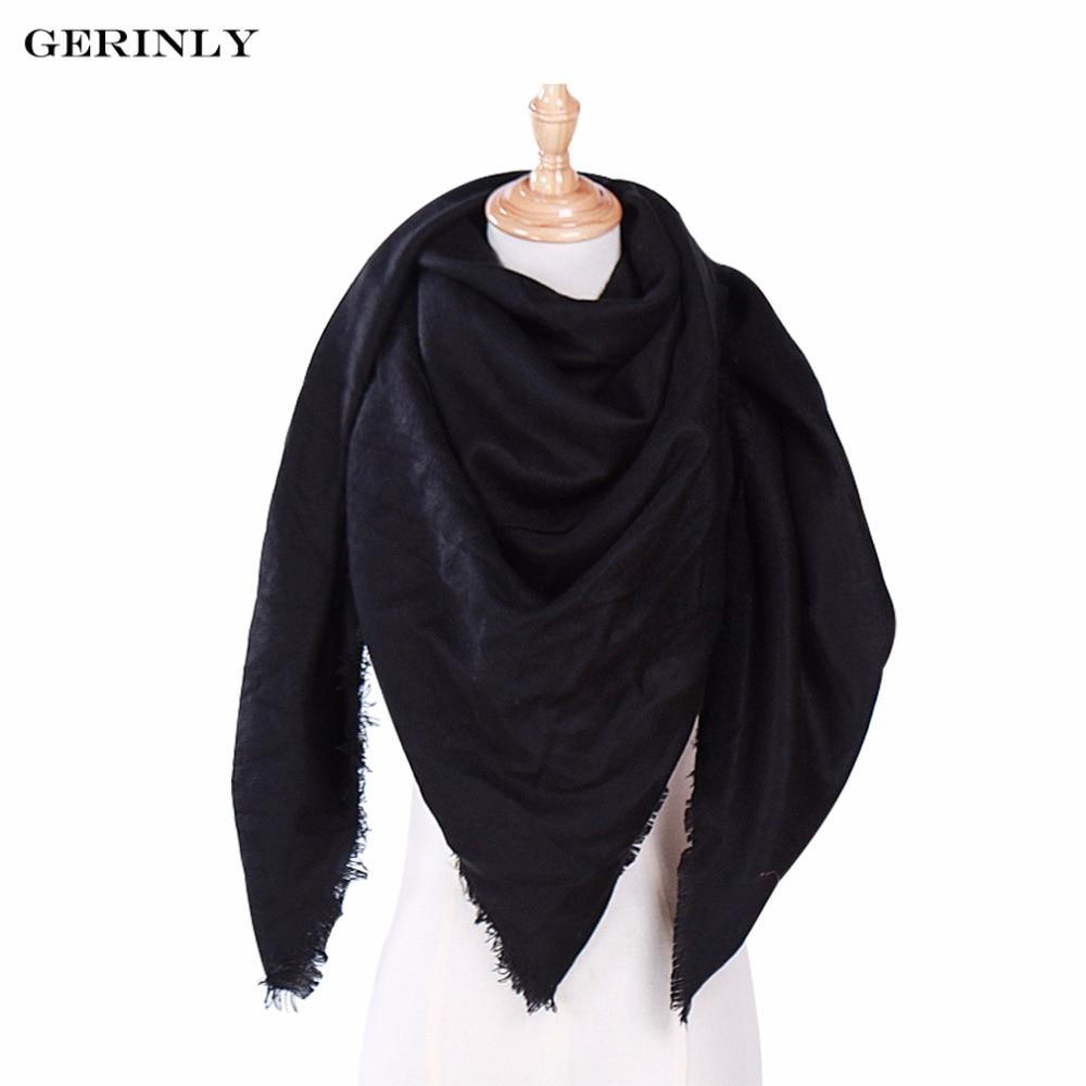 GERINLY 2018 Nouvelle Mode D hiver Écharpe pour Femmes Solide Couleur  Couverture Foulards De Luxe Marque Triangle Cachemire Châles 135 135 200 cm  dans ... d64f2c3bb5e