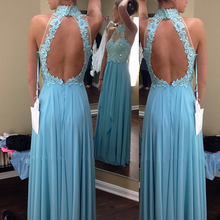 Sexy Backless Lace Prom Dresses 2017 New Arrival Turquoise Chiffon Long Party Gowns Customized Halter  Women Homecoming Gowns