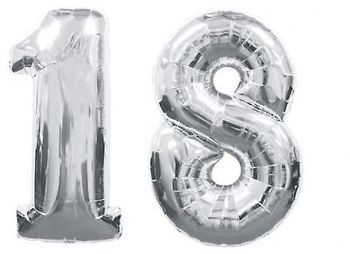 2pcs GIANT SILVER FOIL BALLOONS Nos 1 & 8 - 18th BIRTHDAY PARTY Adults ceremony DECORATION kits supplies