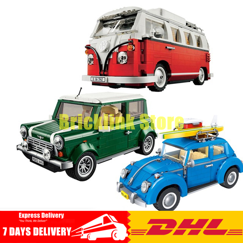 DHL LEPIN 21001 T1 Camper Van+21002 Cooper MK VII+21003 City Car Beetle Model Building Blocks Clone 10242 10252 10220 lepin 21003 series city car beetle model building blocks blue technic children lepins toys gift clone 10252
