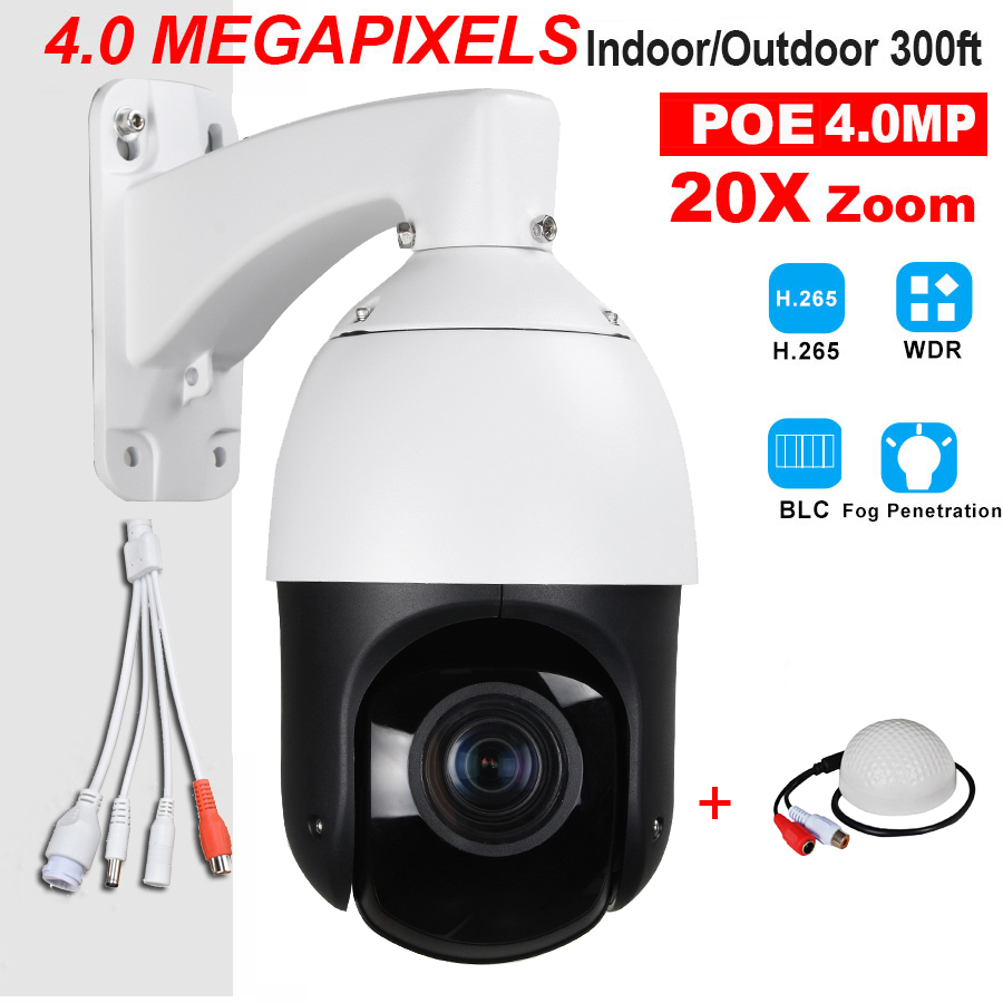 CCTV Security Outdoor IP66 4 Mini H.265 H.264 High Speed Full HD IP 4.0MP 4MP PTZ Camera 4 Megapixels 20X Zoom ONVIF W/ SD Slot