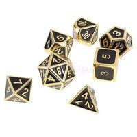 Top 7 PCS de Zinc Alliage Multi Face Dés D4-D20 pour Donjons Dragons MTG MDN RPG Carte D'or Accessoires De Jeu Jeu Amoureux cadeaux
