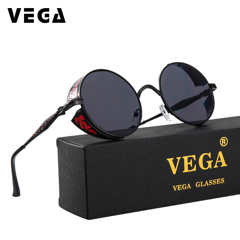 VEGA Unique Circle Steampunk Sunglasses Women Men Round Gothic Brýle 2017 Retro Future Sluneční brýle Vintage Brýle 8990