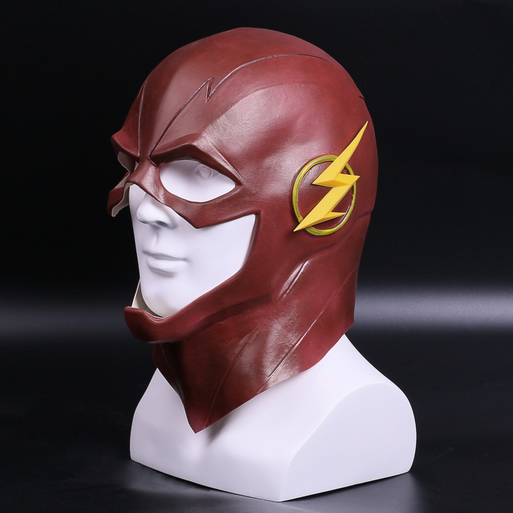 The Flash Mask DC Barry Allen Mask Cosplay Costume Prop Halloween Full Head Latex Party Masks (2)