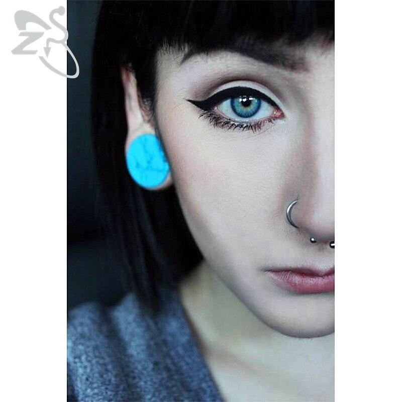 Tunnel Expanders Earrings Gauges Stretchers Ear-Plug Stone Piercing Flesh Women Blue