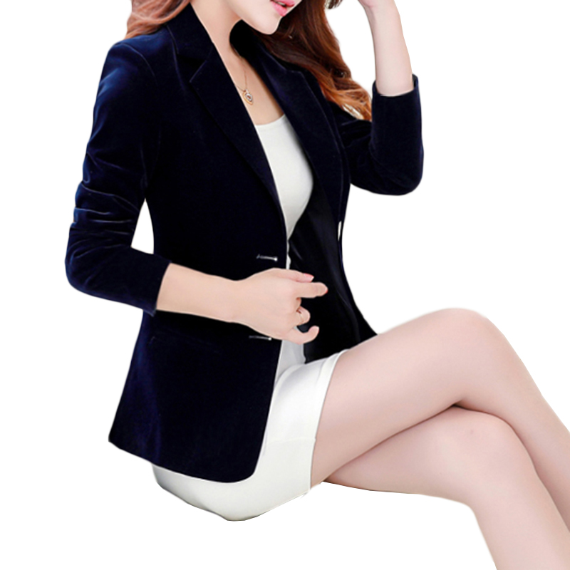 Spring Autumn New Gold Velvet Suit Coat Women Fashion Slim Velvet Long-sleeved Suit Jacket Female Casual Plus Size Blazer A340