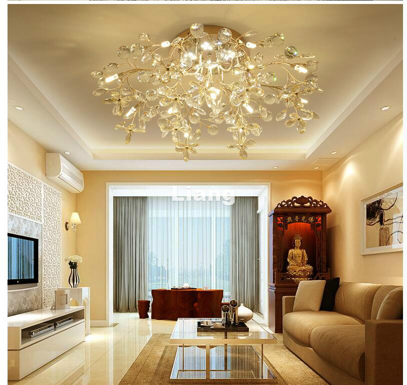 Free Shipping Gold Modern G4 Crystal Ceiling Lamp Crystal Light Bedroom Luminarias Home Decor Creative LED Crystal Ceiling Lamp free shipping high quality modern crystal ceiling lamp golden crystal ceiling lighting sy4062 4l d500mm ac 100