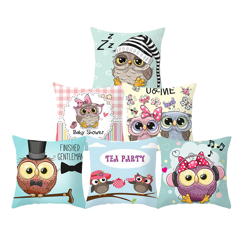 Hot Sale Cushion Cover 1PC High Quality Pillow Case Owl Animals For Sofa Home Decoration For Car Cartoon 44*44CM Cute Popular