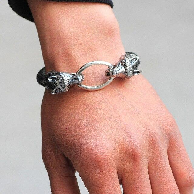 04a2220ff5df Moda hombres de acero inoxidable pulseras de cuero hombres joyas Hombre  Lobo cabeza encantos pulseras brazaletes