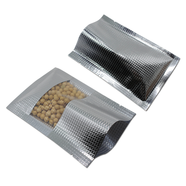 80Pcs/Lot Silver Open Top Package Bag Food Storage Aluminum Foil Lines Bag  With Clear Window Heat Seal Vacuum Packaging Bags