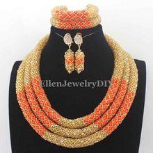 Delicate Orange/Gold Nigerian Wedding African Beads Jewelry Set Dubai Orange Coral Beads Bridal Jewelry Set Free Shipping W13614
