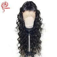 Hesperis бесклеевого человеческих волос парики для черный Для женщин Реми полный парики, кружева предварительно сорвал с для волос плотность 150
