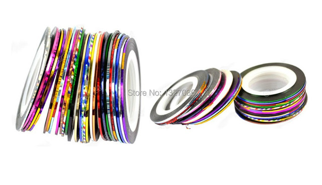 30 Multi-Color Mixed Striping Tape for Nail Art