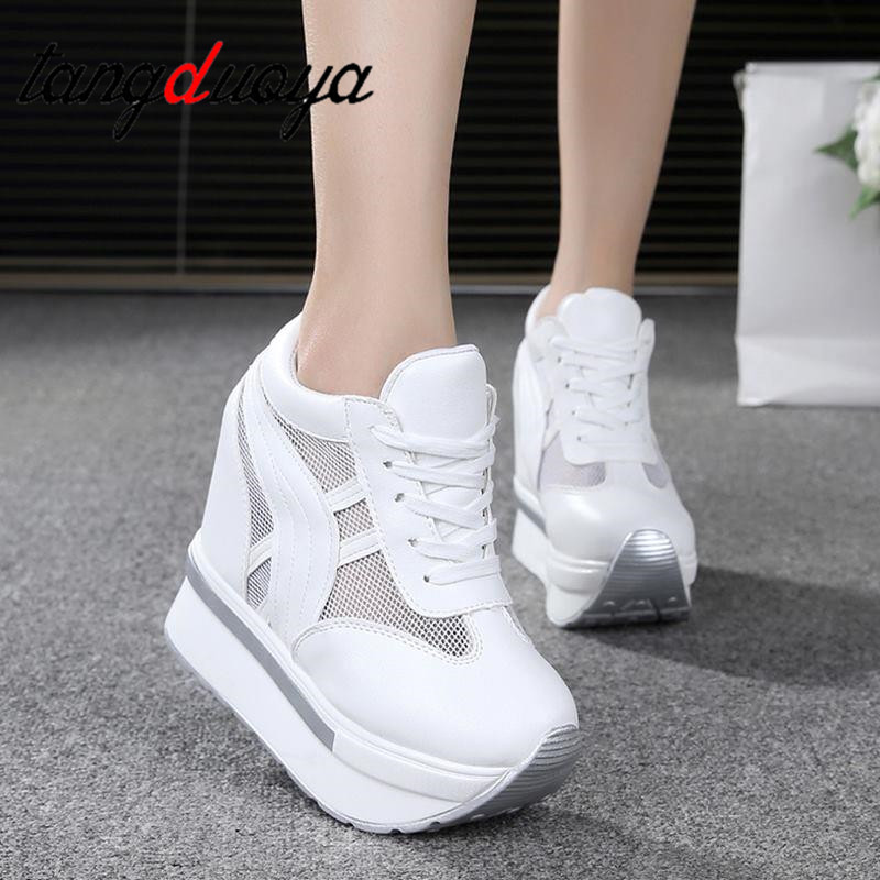 Ladies Shoes Sneaker Breathable Mesh Shoes Muffin With Thick Bottoms Increased Shoes High Heel Casual Shoes Platform Sneakers