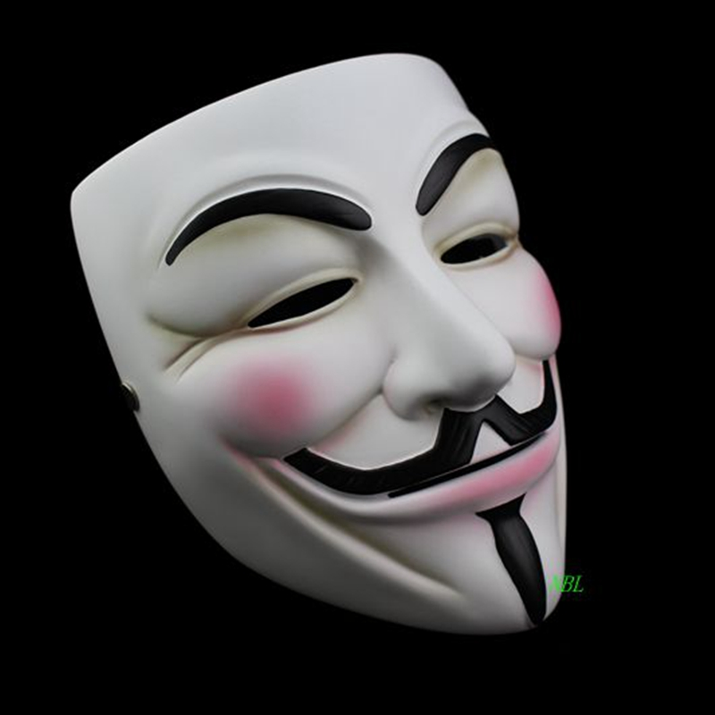 Halloween Masquerade Anonymous Guy Fawkes Fancy V Masks V for Vendetta Resin Mask Dress Adult Costume Cosplay Party Props-in Party Masks from Home & Garden