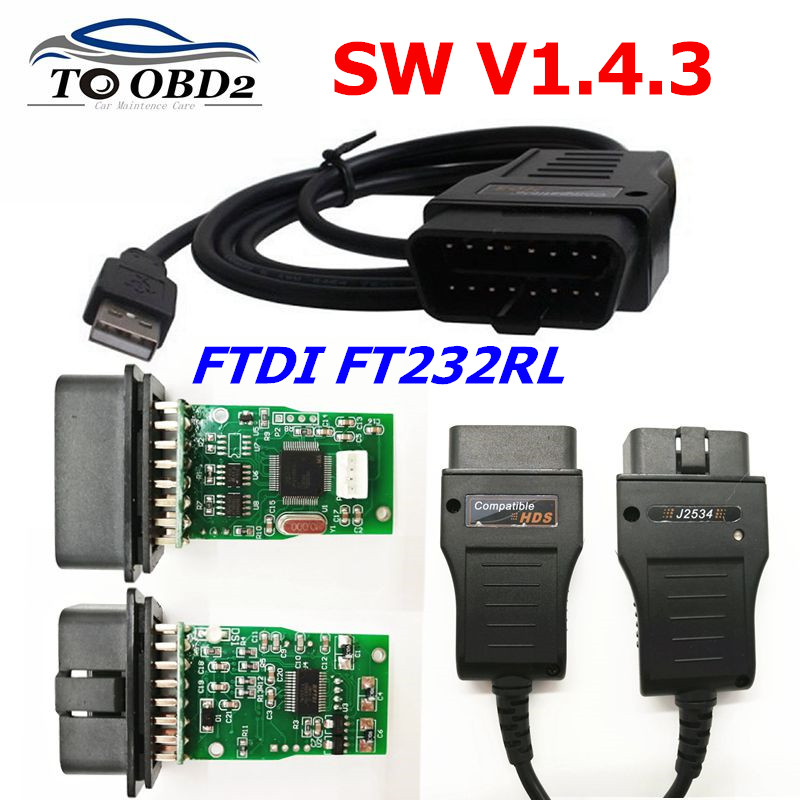 HDS usb Cable OBD2 Diagnostic Cable For HONDA SW V1.4.3 HDS Cable for Honda FTDI <font><b>FT232RL</b></font> <font><b>Chip</b></font> HDS Auto OBD2 USB Cable image