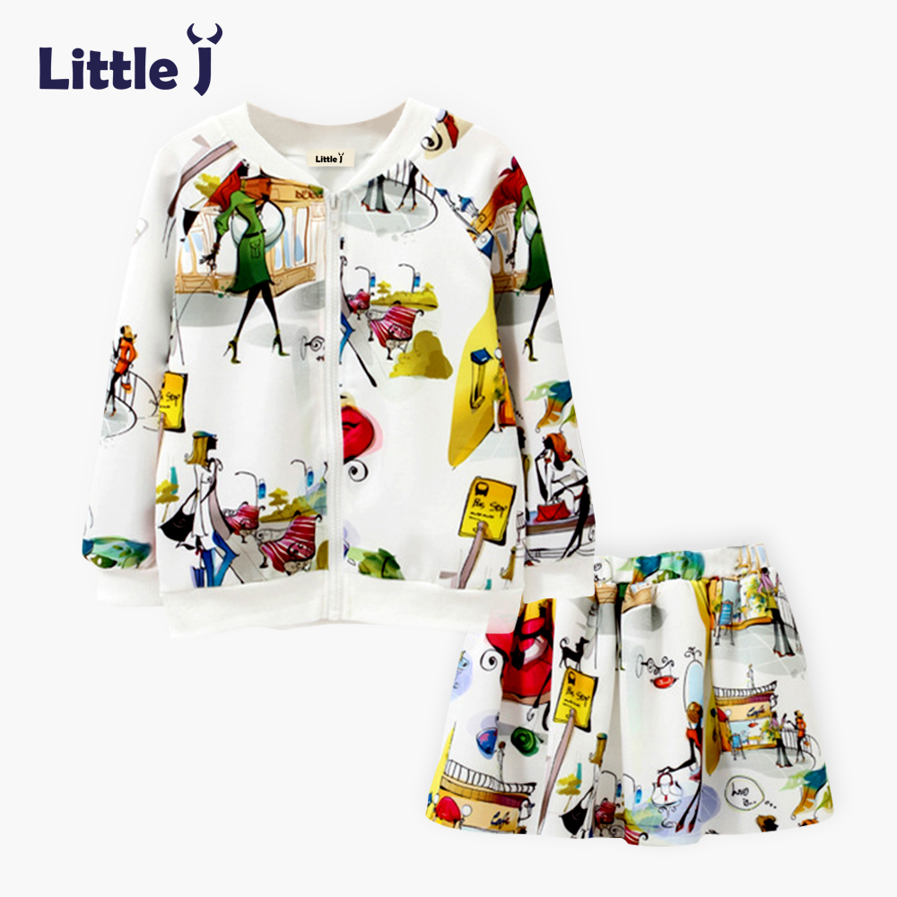 Little J Girls Print Illustration Jacket + Skirts Sets Autumn Korean Flight Jackets Children Scuba Knitting Baseball Uniform
