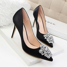 Spring Autumn Women Pumps Elegant Rhinestone Silk Satin High Heels Shoes Sexy Thin Pointed Single Shoes 7 Color