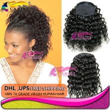 girl coleta extension pelo loose curly pony tail brazilian virgin hair wrap around human hair drawstring ponytail
