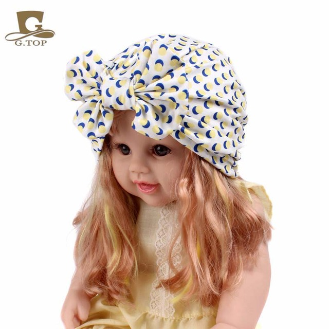 6b664d9d89f Girls vintage big bow Headbands fruit pattern kids Hat Girl Soft Cute  Turban kids beanie Knotted hair band