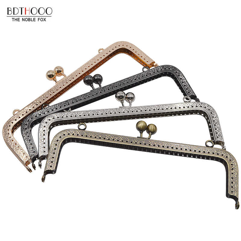 20cm Square Metal Purse Frame Handle for Clutch Bag Accessories Making Kiss Clasp Lock Antique Bronze Tone Bags Hardware