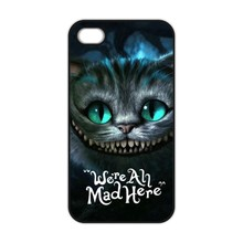Alice in Wonderland We're All Mad Here Cheshire Cat Case for iPhone 4S 5 5S 5C 6 6S Plus 7 Samsung S3 S4 S5 Mini S6 S7 Edge Plus
