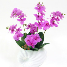 Flone Artificial Butterfly Orchid With Leaves Flower Real Touch Flowers Simualtion Plants Wedding Home Office Party Decor