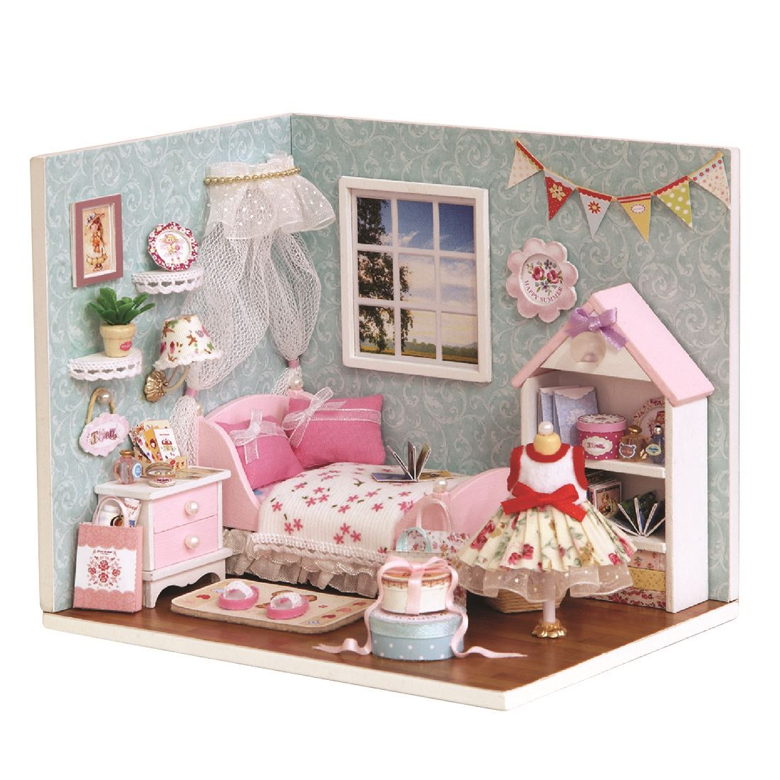 Interesting Dollhouse Happy Small World 3D Assembly DIY Household Creative House Kit Learning Toys For Children image