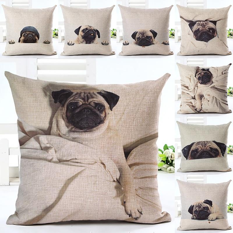 2017 Hot Selling Sleep Pug Home Decorative Sofa Cushion Throw Pillow Case Cotton Linen Square Pillows