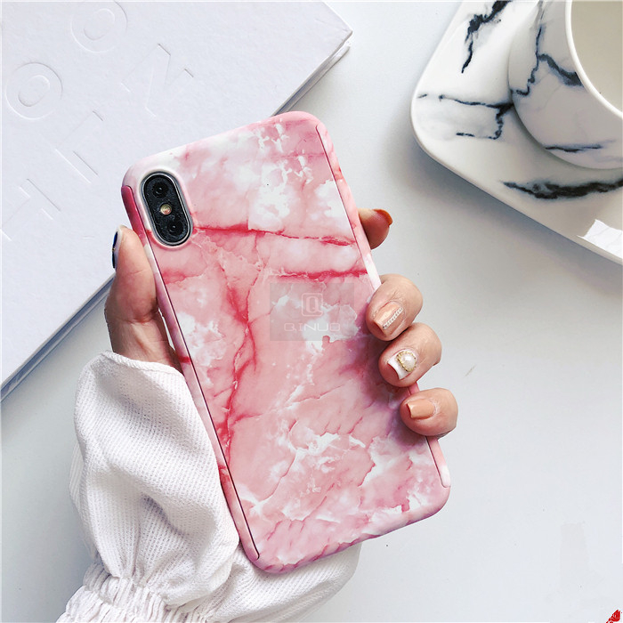 360 Degree Marble Stone Full Protective Iphone 6 6S 7 8Plus 5 SE Cover With Tempered Glass Phone Iphonex
