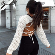 Simenual Lace Up Backless 2019 Autumn Sweater Women Long Sleeve Cropped Pullovers Knitted Fashion Casual Basic Jumpers