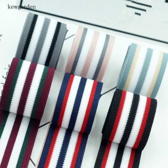kewgarden 40mm  4cm Stripe Ribbons Handmade Tape Satin Ribbon DIY Bow Accessories Riband 4m /lot