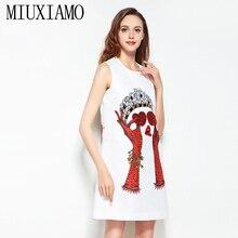 2019 Newest Spring & Summer Fashion A-Line O-Neck Sleeveless Tank Heart Sequined Diamonds Elegant Print Above Knee Dress Women heart print tank