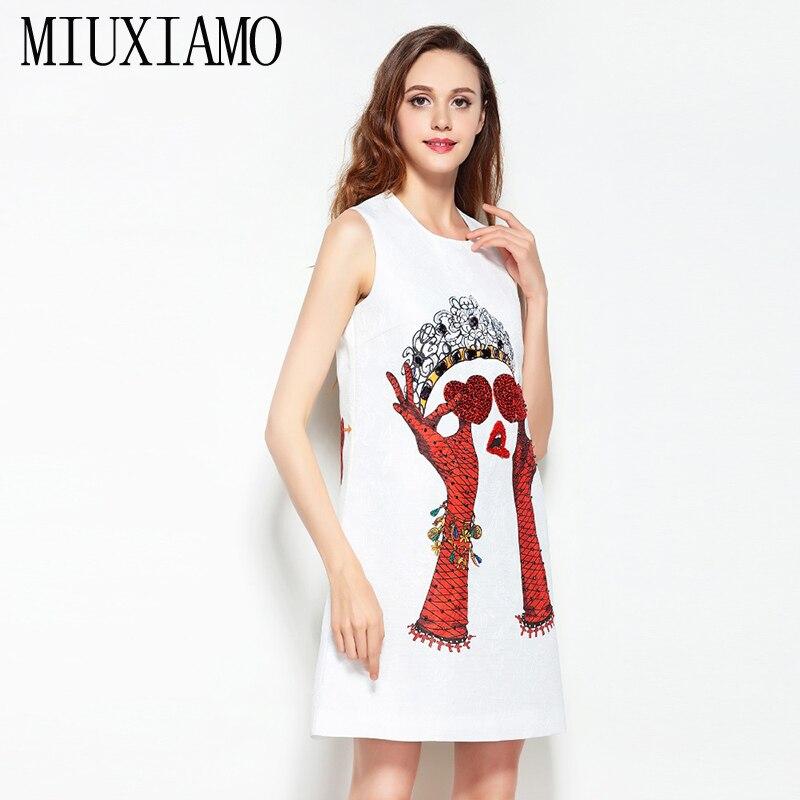 2019 date printemps et été mode a-ligne o-cou sans manches réservoir coeur pailleté diamants impression élégante au-dessus du genou robe femmes