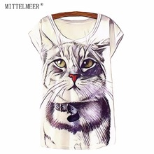 MITTELMEER Summer Cotton T Shirt Women Short Sleeve O Neck Tops Animal Print Cat Tees Fashion