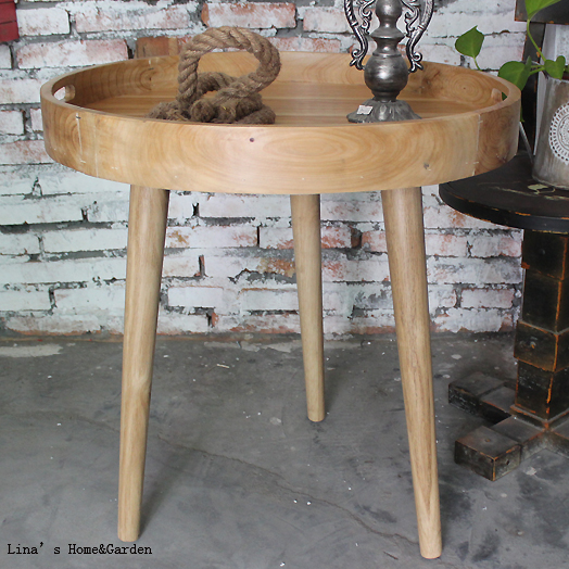 Knock Down 3 Leg Creative Tray Top Natural Round Wooden Side Table