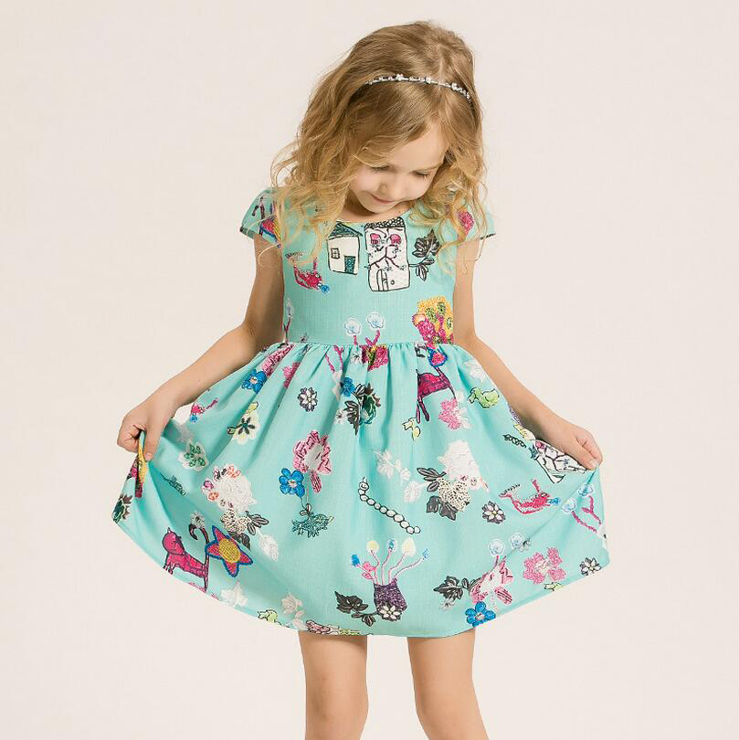 ФОТО 2017Spring New Bow Waist Put On A Large Round Neck Short-Sleeved Dress Girls 3-15Years