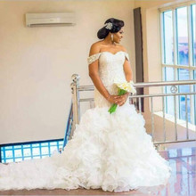 kejiadian Plus Size Arabic Wedding Dresses Chapel Train