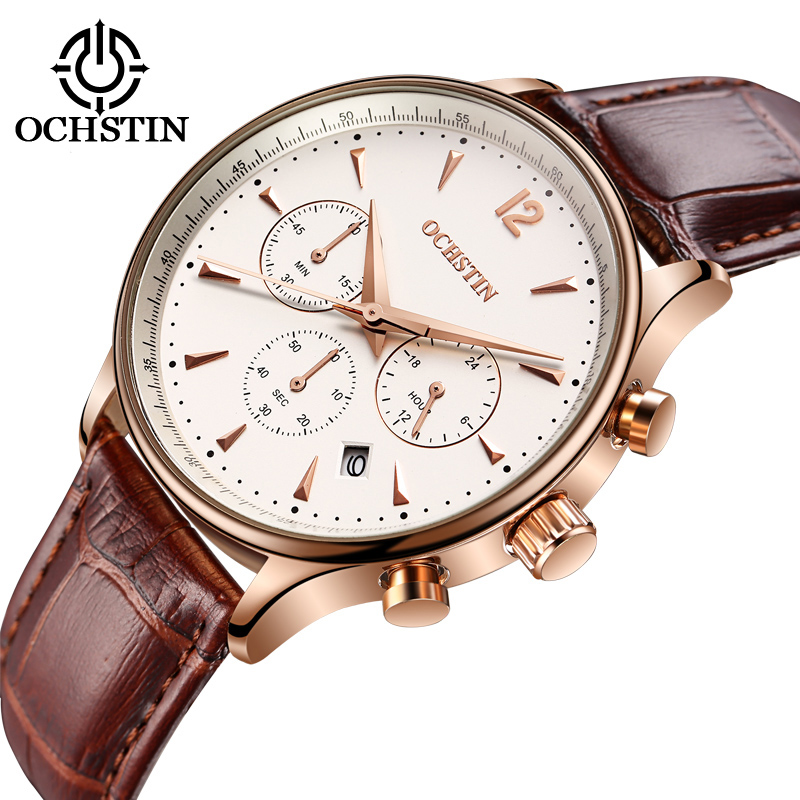 Image 2 - 2017 Top Luxury Brand OCHSTIN Men Sports Watches Men's Quartz Date Clock Man Leather Military Wrist Watch Male Relogio Masculino-in Quartz Watches from Watches