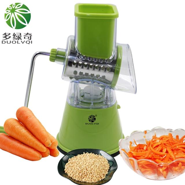 DUOLVQI Round Mandoline Slicer Vegetable Cutter Manual Potato Julienne Carrot Slicer Cheese Grater Stainless Steel BladesKitchen