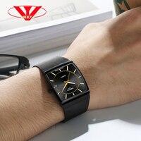 Лидирующий бренд NIBOSI 2019 Новый люксовый бренд для Для мужчин квадратный Водонепроницаемый часы черный часы кварцевые часы Спорт Нержавеюща
