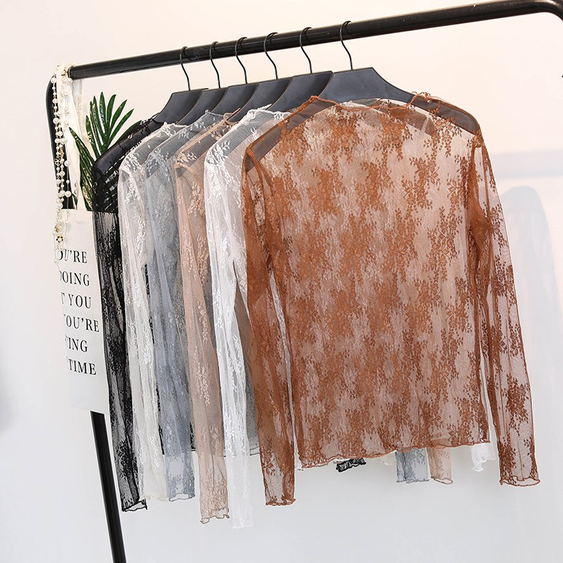 Korean Summer Floral Embroidery   Shirt   Women Sexy Vintage Mesh Lace Transparent Long Sleeve   Blouses     Shirts   Ladies Tops Female