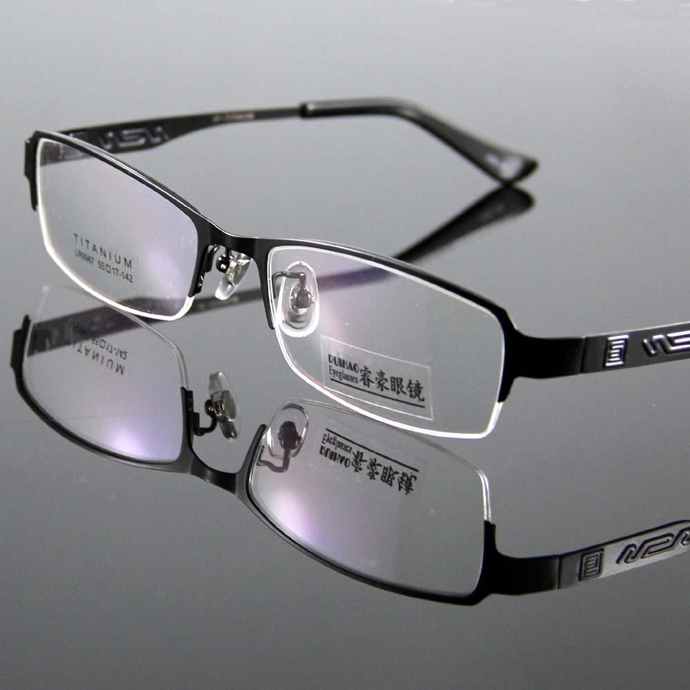 ᐂModa marco gafas de titanio hombres mujeres medio gafas sin ...