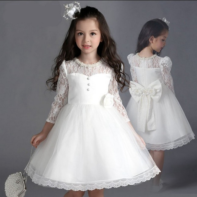 371f8a107 New Children s Flower Girl Dress with Bow lace Sleeve Wedding Party ...