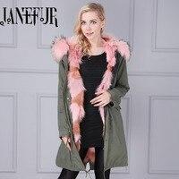 2016 thương hiệu xuống áo khoác mùa đông phụ nữ kaki màu xanh lá cây dài xuống áo khoác bất fox fur lót parka fur coats áo khoác mùa đông phụ n