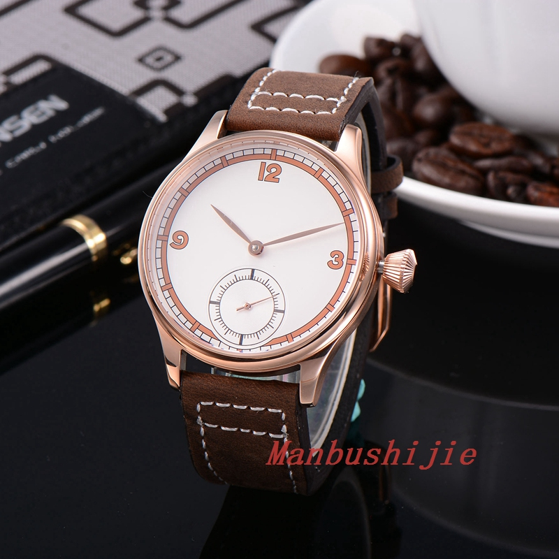 Corgeut 44mm Wristwatches Rose Gold Case White Dial Leather Hand Winding 6498 Men's Watch CM2002GW corgeut 44mm white dial rose golden case hand winding 6498 mens watch